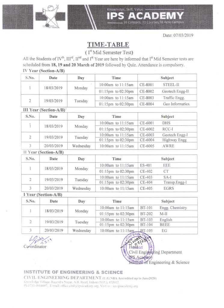 test-time-table-2019