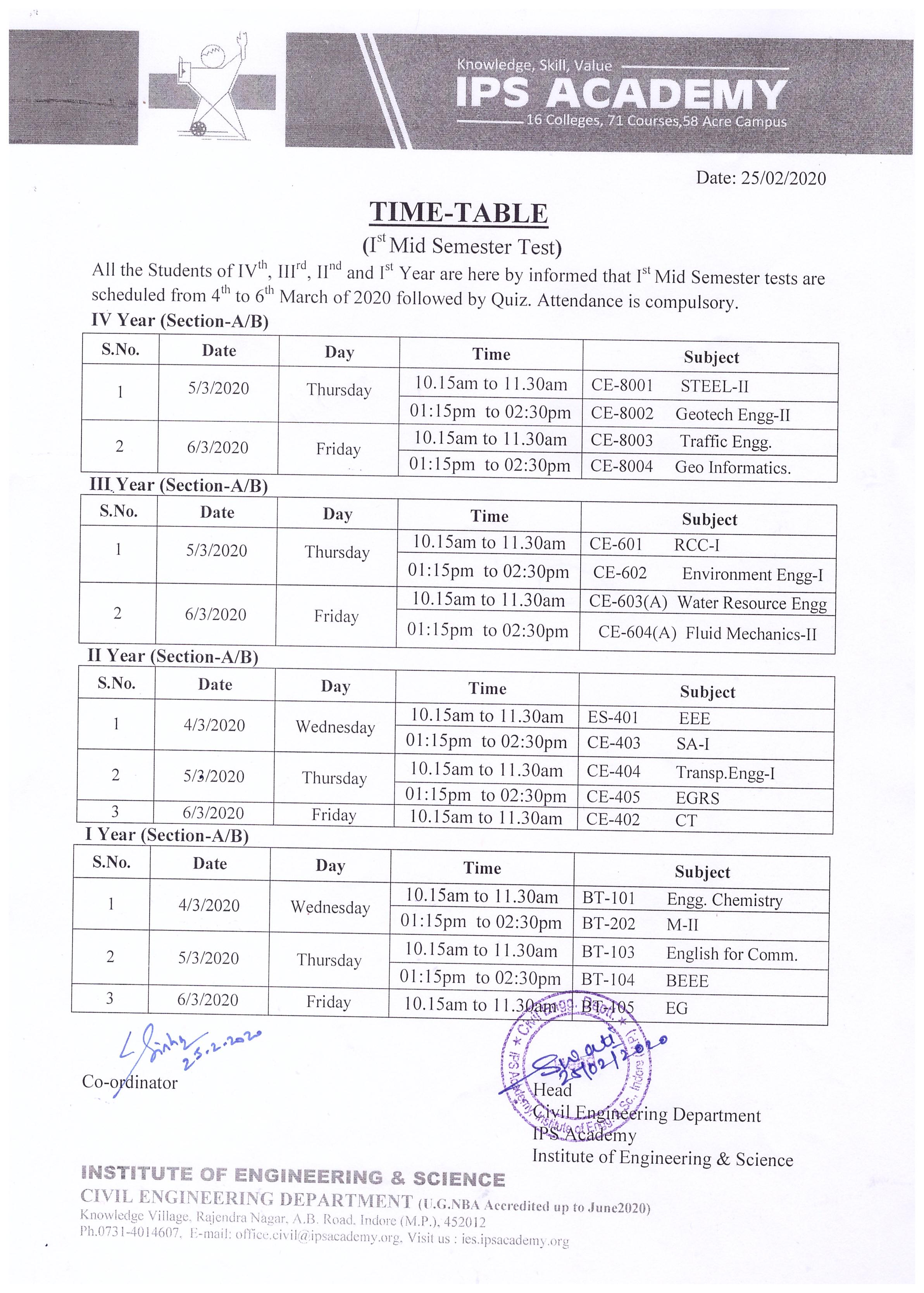 test-time-table-march-2020