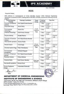 Summer internship schedule