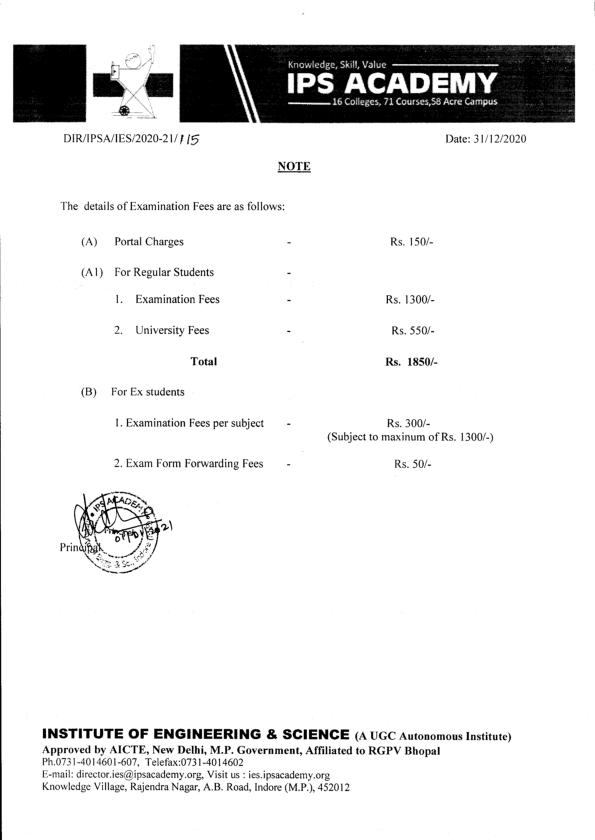 Note regarding Details of exam fees dec. 2020