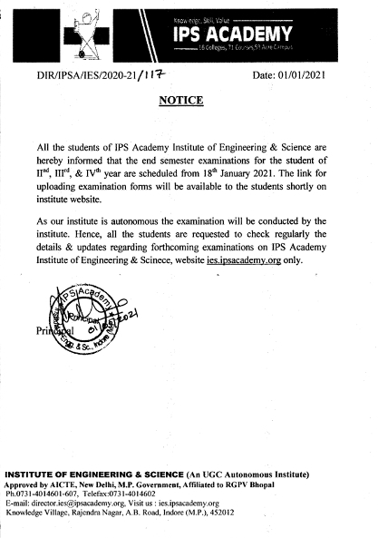 Notice regarding End semester exam schedule for second to fourth year students