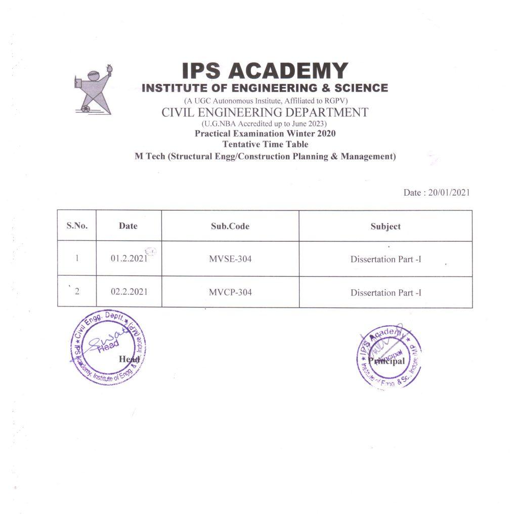 Practical Exam M.Tech Time-Table CPM & Stru