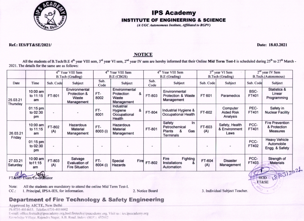 B.Tech MST-I Time Table March 2021