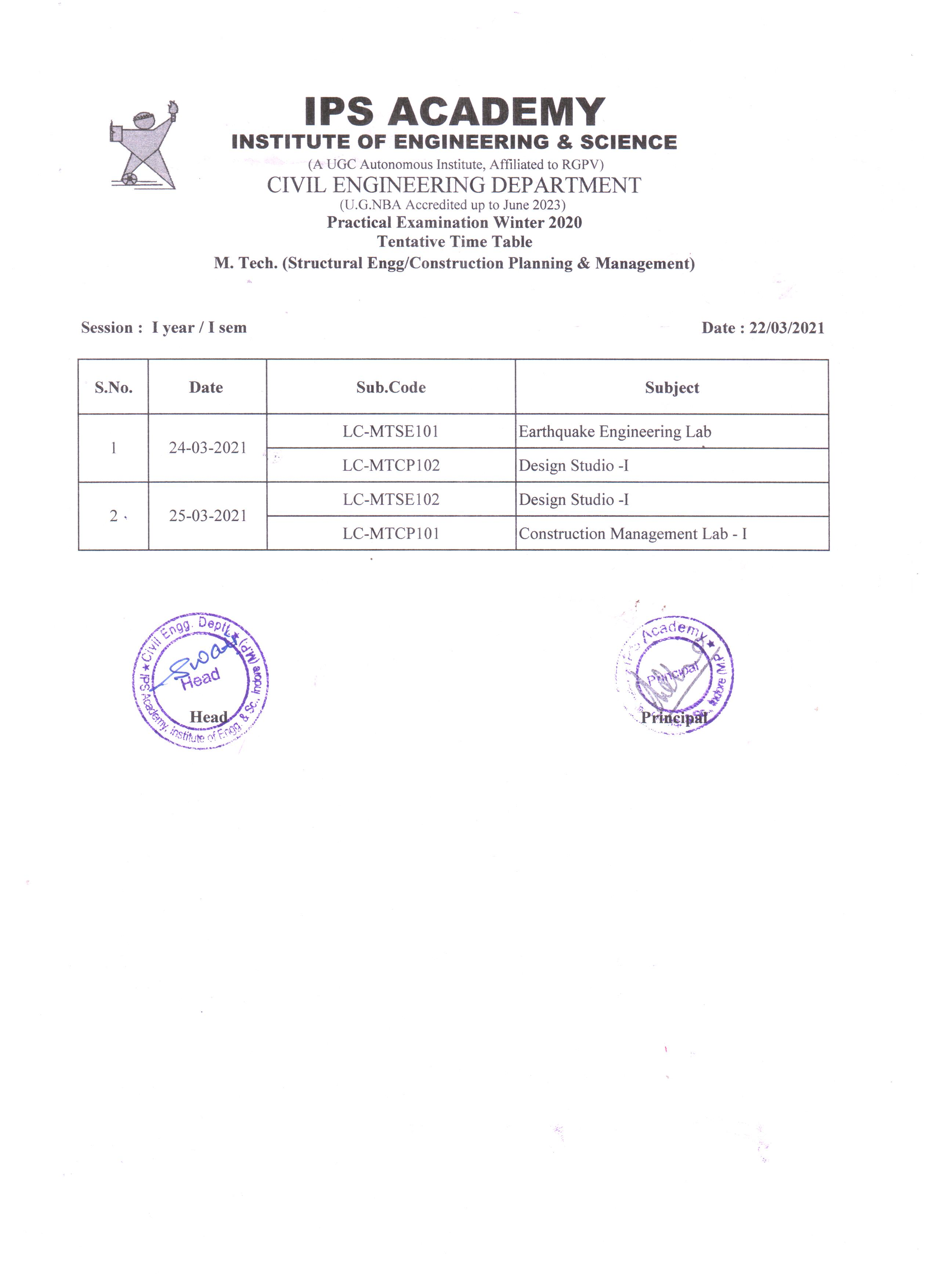 Practical Time-Table M.Tech CPM & Structural I year, I Sem vb 22.3.2021