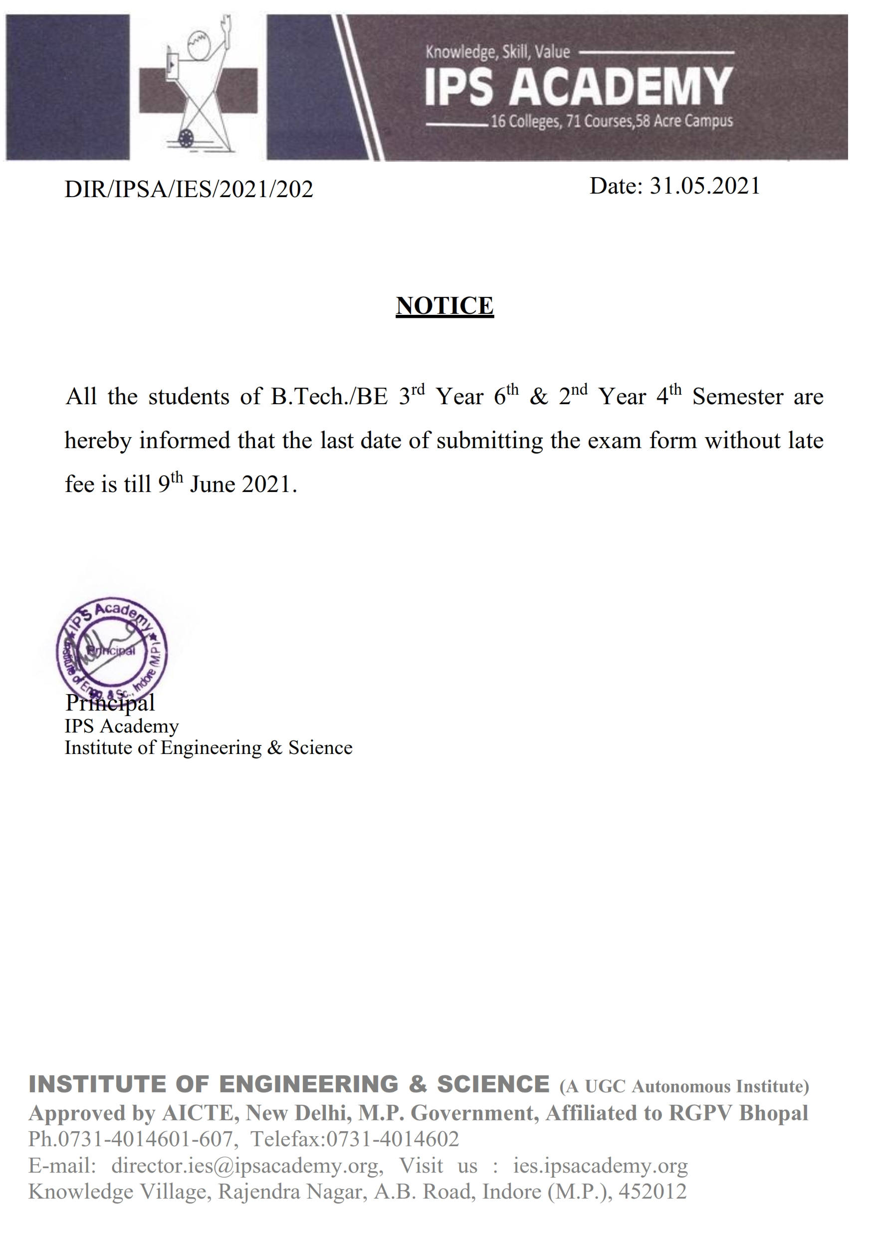 Notice for date of 3rd year & 2nd year_001