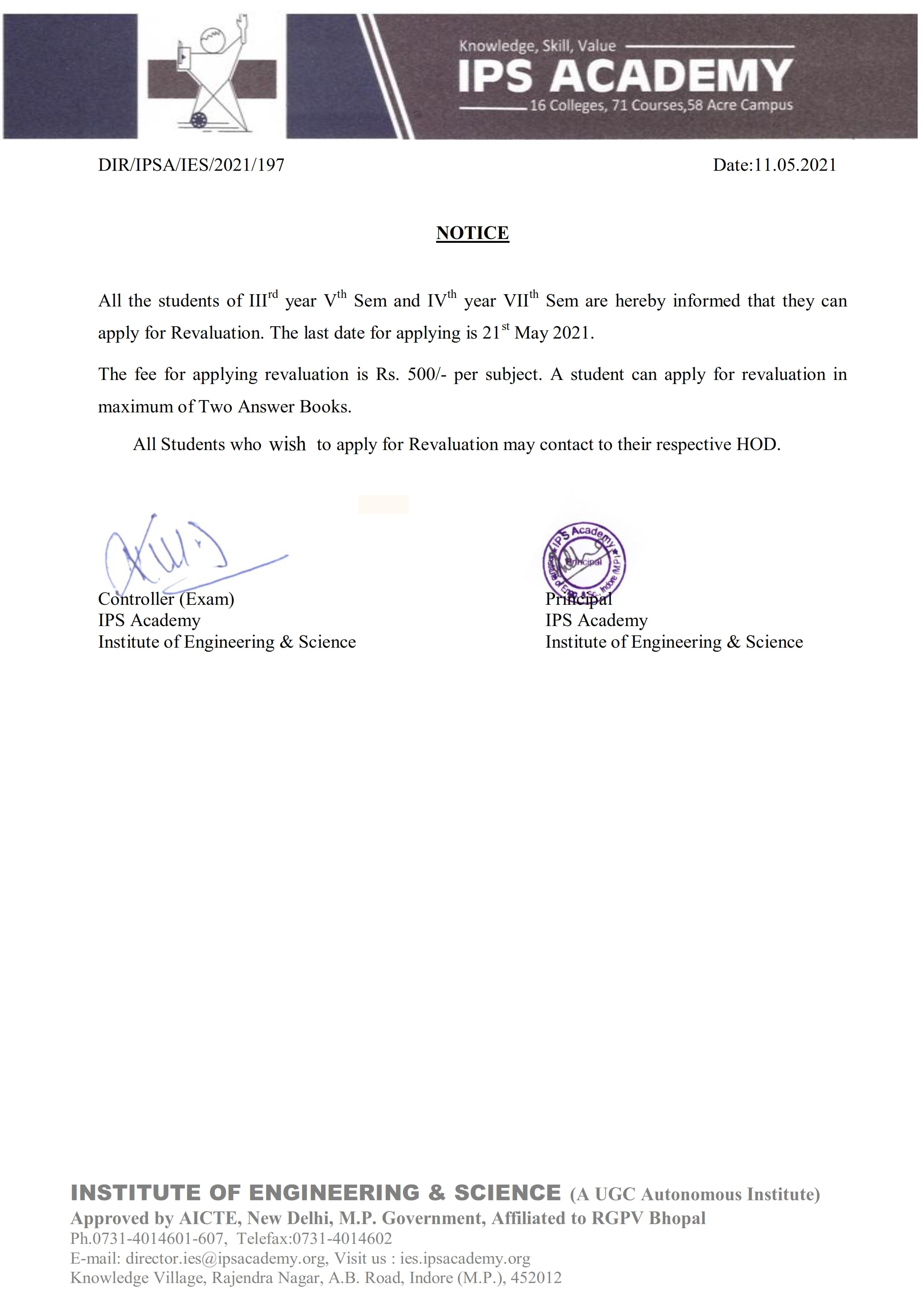 Notice for revaluation_001