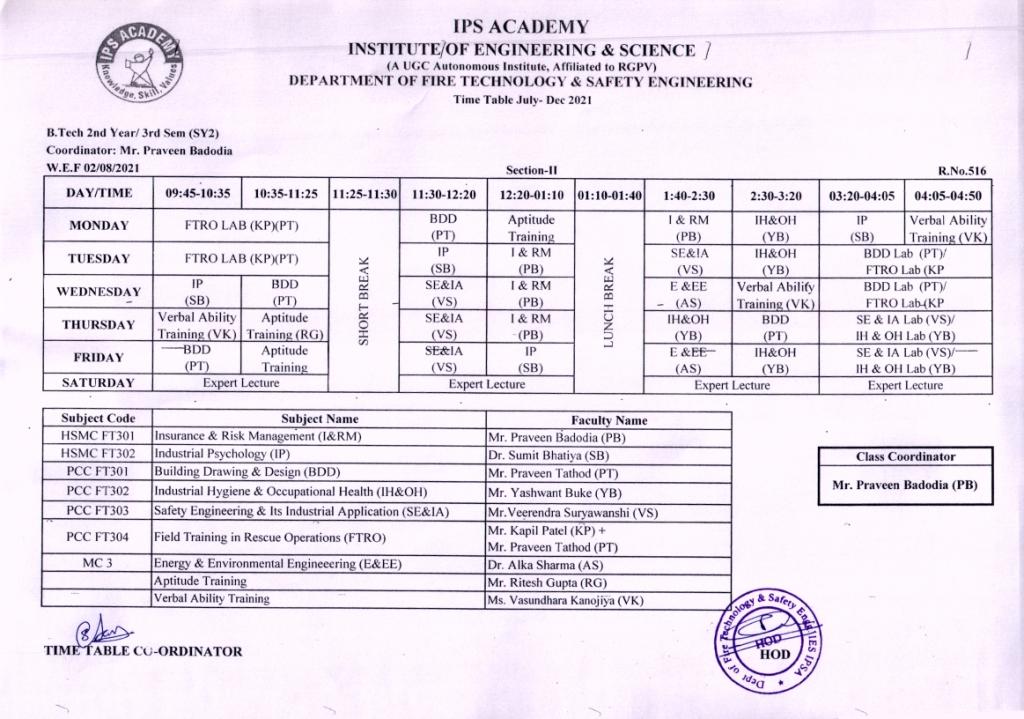 III-II Time Table July-Dec.21